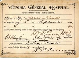 Student tickets from the Victoria General Hospital