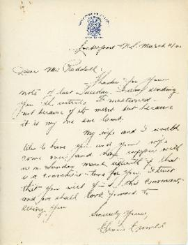 Correspondence between Thomas Head Raddall and Clement W. Crowell, and Esther