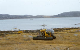 Photograph of a helicopter in Cape Dorset, Northwest Territories