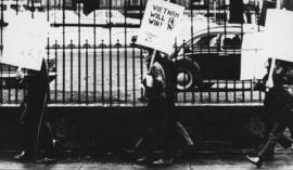 Photograph of demonstrators on Hollis Street during an anti-Vietnam War protest march
