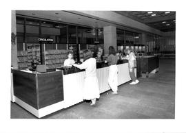 Photograph of the circulation desk in the Killam Memorial Library