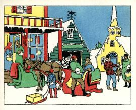 Christmas card print of  a village scene by D.C. Mackay