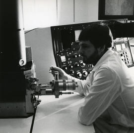 Photograph of Peter Wilkinson with equipment
