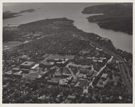 Aerial photograph of Dalhousie University Campus and the Northwest Arm