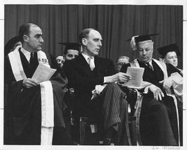 Photograph of H. D. Smith, R. L. Stanfield, and Henry Hicks at a convocation ceremony