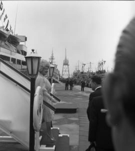 Photograph of the Queen Mother disembarking from a ship in Halifax