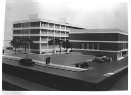 Photograph of a model of the Weldon Law Building