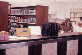 Photograph of the W.K. Kellogg Library behind the Circulation Desk