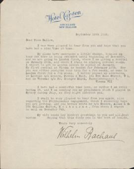 Letter from Wilhelm Backhaus to Ellen Ballon