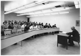 Photograph of Robert T. Donald lecturing