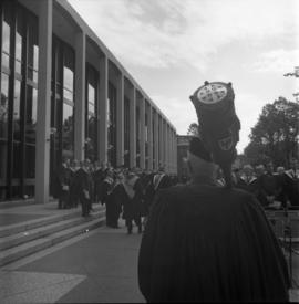 Photograph of the Dalhousie mace being carried to the Dalhousie medical centennial convocation ceremony