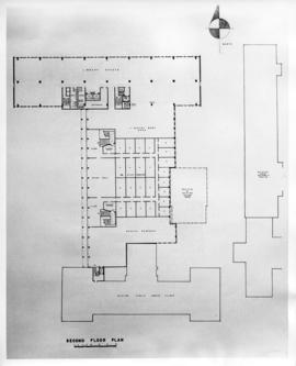 Drawing of the layout of the second floor of the Sir Charles Tupper Medical Building