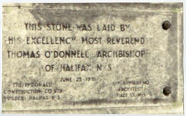 Photograph of inscription on stone laid for the construction of the Halifax Infirmary