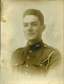 Studio portrait of unidentified soldier in uniform