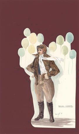 Costume design for person in an aviator suit