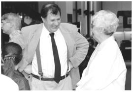 Photograph of Bill Owen and Helen Branny at Bill Owen's W.K. Kellogg retirement party