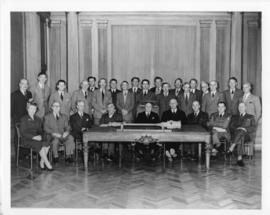 Photograph and a photographic negative of the Dalhousie University Senate members