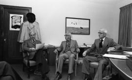 Photograph of a cheque presentation in the department of social work
