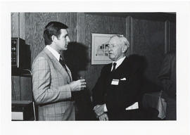 Photograph of two unidentified men at the Dalplex Campaign kick-off reception