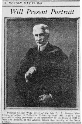 Newspaper clipping of a portrait of Arthur Stanley MacKenzie