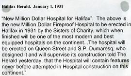 Halifax Herald quote about the construction of the Halifax Infirmary in 1931