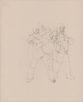 Costume design for two men and one woman