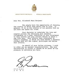 Correspondence from Prime Minister Pierre Elliott Trudeau to Elisabeth Mann Borgese