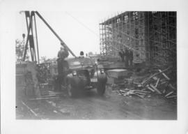 Photograph of a truck on the Arts & Administration Building construction site