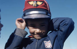 Photograph of a boy with a red cap in Fort Chimo, Quebec