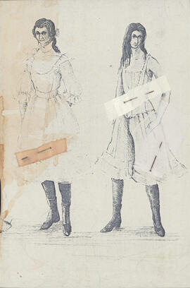 Photocopy of costume designs for Wendla