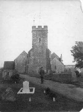 Photograph of Capt. S.J. MacLennan in front of St. Martin's Church