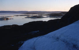 Photograph of Frobisher Bay taken from a hill