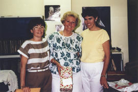 Photograph of Carol Webb, Helen Branny, and Mary MacDonald at Helen's Kellogg retirement party