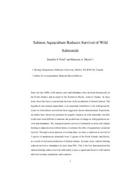 Salmon aquaculture reduces survival of wild salmonids : [draft manuscript]