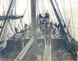 Photograph of the cable-ship Mackay-Bennet near Sandy Hook lightship in the New York Harbor