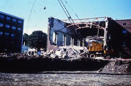 Photograph of demolition of Medical-Dental Library, open side wall