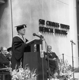 Photograph of Chester Stewart speaking at the Dalhousie medical centennial convocation