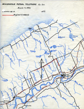 Map of Beaconsfield Mutual Telephone Company's telephone line