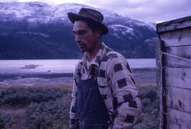 Photograph of a seal net maker in Postville, Newfoundland and Labrador