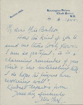 Letter from Alice Mary, Princess of Albany, to Ellen Ballon