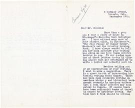 Correspondence between Thomas Head Raddall and Patricia Patton