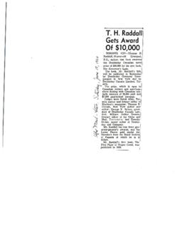 T. H. Raddall Gets Award of $10,000 : [clipping]