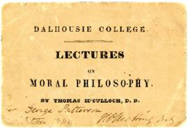 Ticket for Thomas McCulloch's lectures on moral philosophy at Dalhousie College