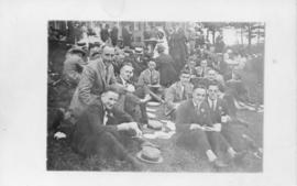 Postcard with a photograph of a group of people at a Dalhousie reunion