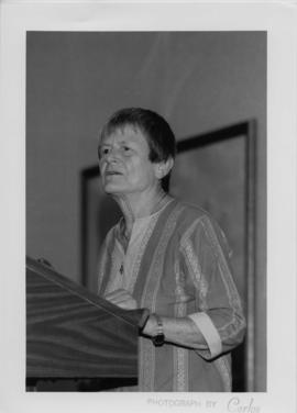 Photograph of Elisabeth Mann Borgese giving a speech