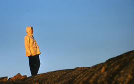 Photograph of Barbara Hinds on a hill in Frobisher Bay, Northwest Territories
