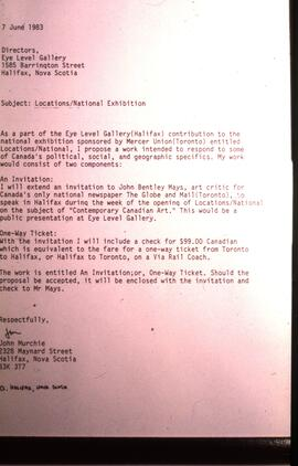 Photograph of letter detailing John Murchie's One Way Ticket proposal for the Locations/Nati...
