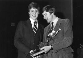 Photograph of Brian Jessop and Nigel Kemp : Swimming award presentation