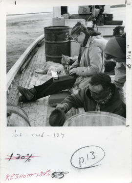 Photograph of Barbara Hinds typing while sitting on a boat on the Koksoak River