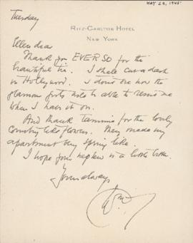 Letter from William Somerset Maugham to Ellen Ballon